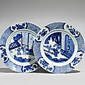 A pair of blue and white dishes, kangxi period (1662-1722)