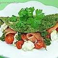 Omelette verte farcie version marine ( plat froid )