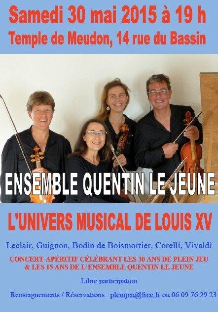 Concert de l'ensemble meudonnais Quentin Le Jeune le samedi 30 mai 2015