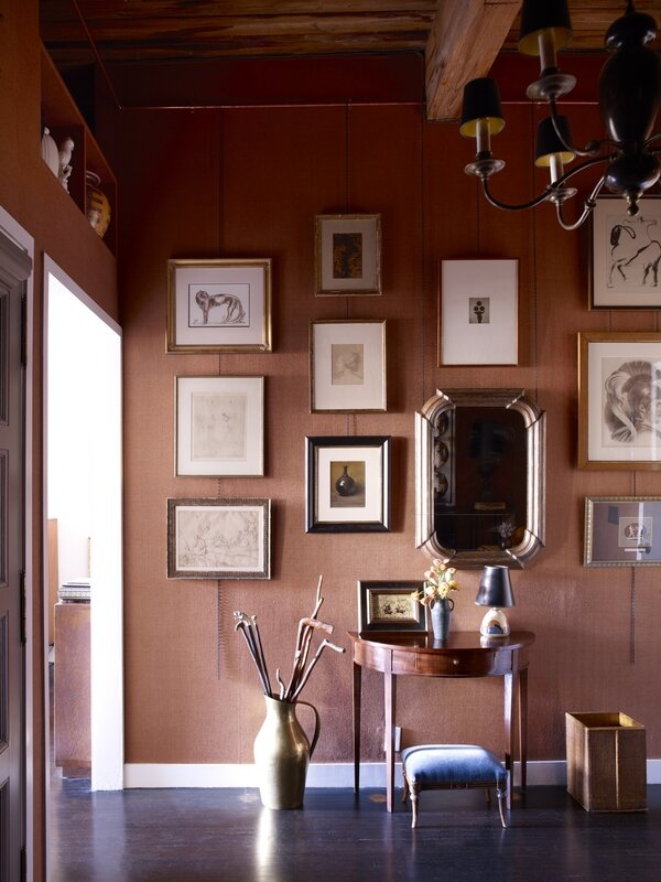 art-filled-foyer-alexandra-loew-coral-walls-gallery