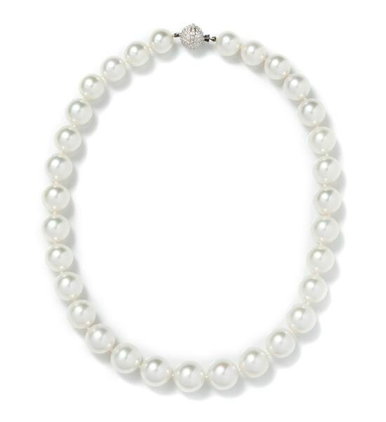 A Single Strand Graduated Cultured South Sea Pearl Necklace, Cartier