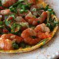 Omelette aux crevettes saveurs d'asie