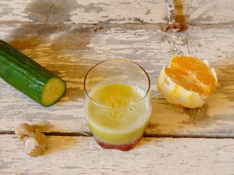 Jus désaltérant concombre orange gingembre