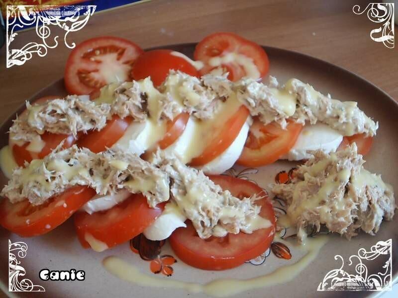 Entr e fraicheur tomate mozarella et sa cr me de thon au for Entree fraicheur rapide