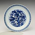 A blue and white 'Three friends of winter' dish, Wanli mark and period 