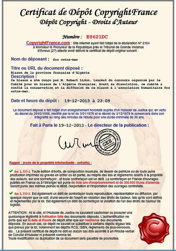 Certificat de dépot copyright
