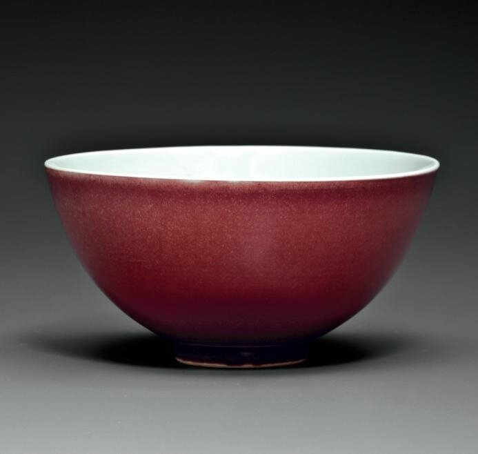 A copper-red-glazed bowl, Yongzheng six-character mark in underglaze blue within a double circle and of the period (1723-1735)