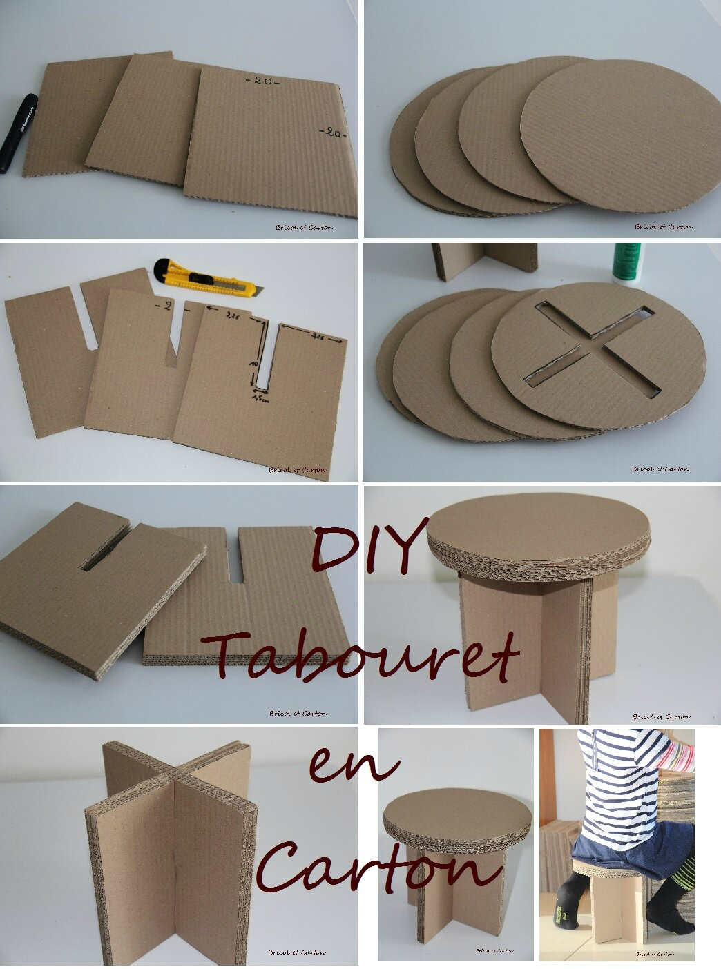 diy tabouret en carton bricol et carton. Black Bedroom Furniture Sets. Home Design Ideas