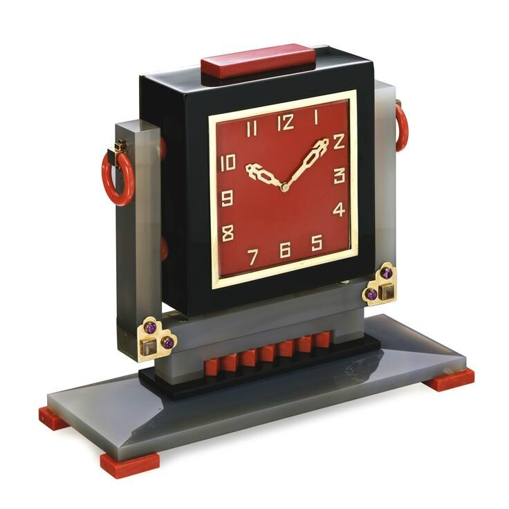 Hardstone, Coral, Ruby and Lacquer Desk Clock, Lacloche Frères