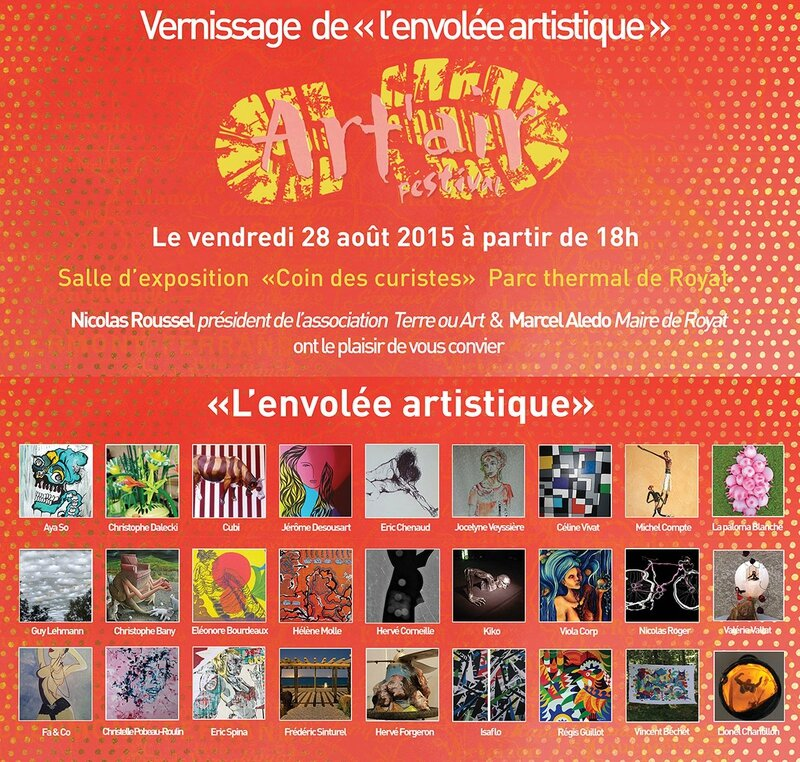 1 carton invitation vernissage expo Royat 2015 com artites