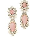 Pair of 18 karat gold, coral and diamond pendant-earclips, van cleef & arpels, paris