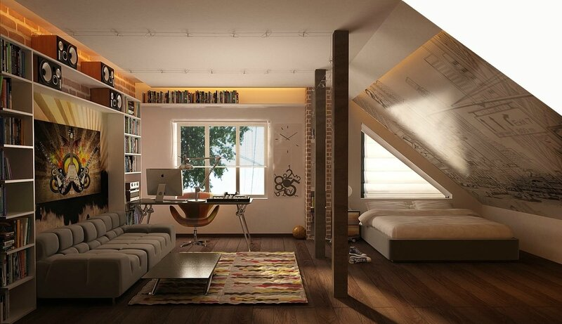 attic-bedroom-wall-mural-couch-office-space-built-in-bookshelves-exposed-brick