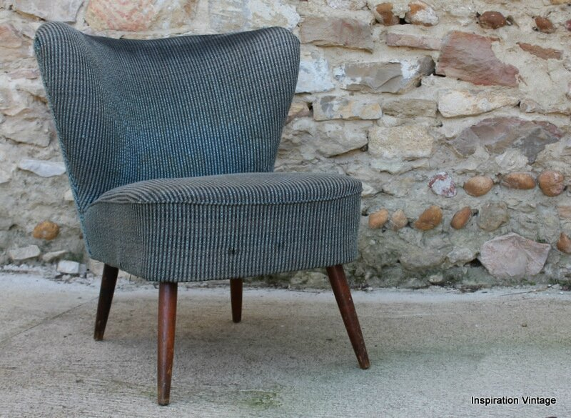 fauteuil cocktail 50 39 s gris bleu restaurer inspiration vintage. Black Bedroom Furniture Sets. Home Design Ideas