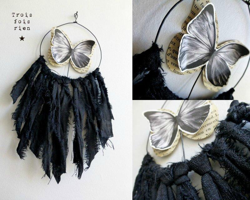 Attrape-songes papillon, lin, fil de fer, papier N°25