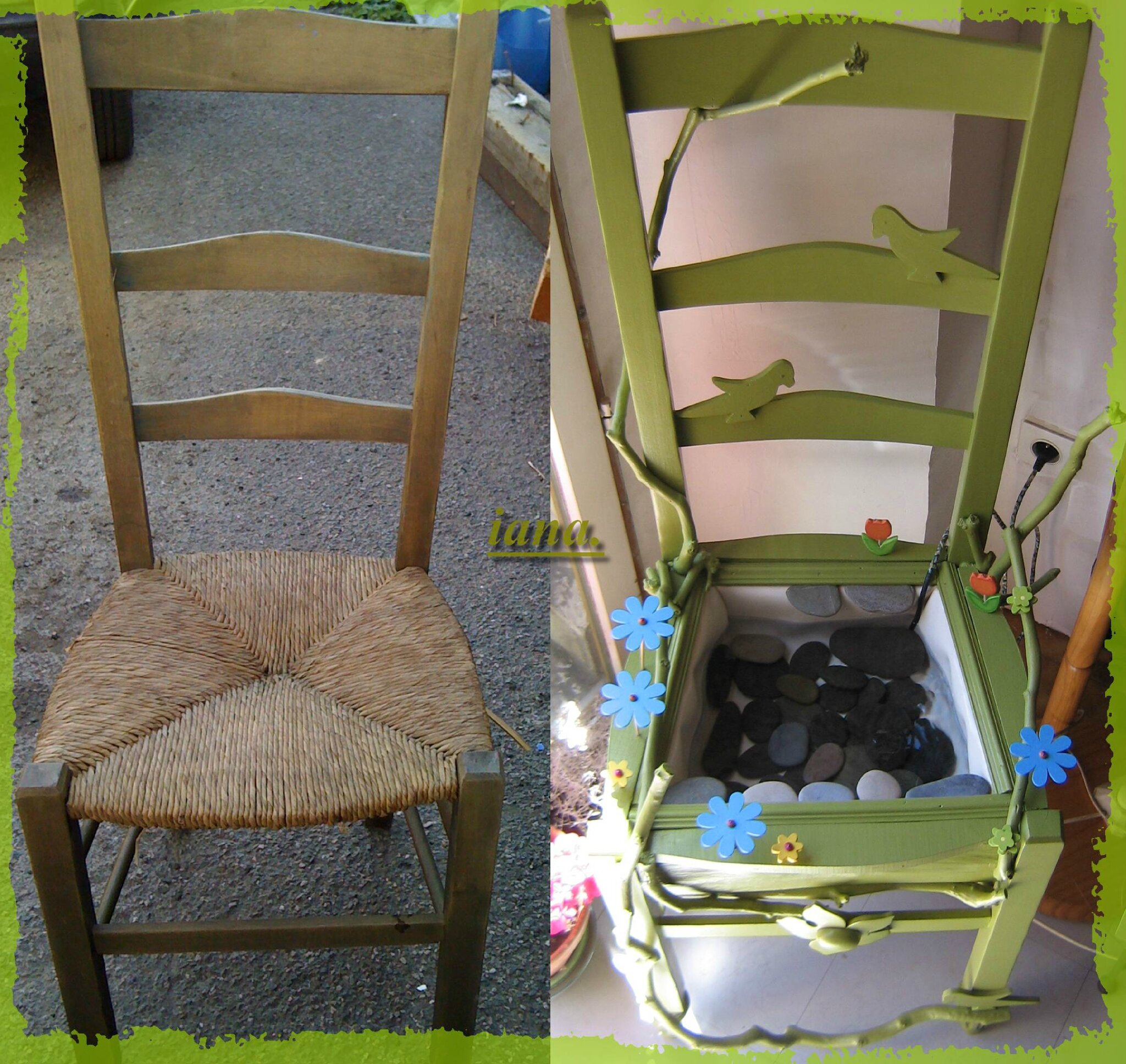 La chaise fontaine les cr ations d 39 iana r cup - Idee relooking meuble bois ...