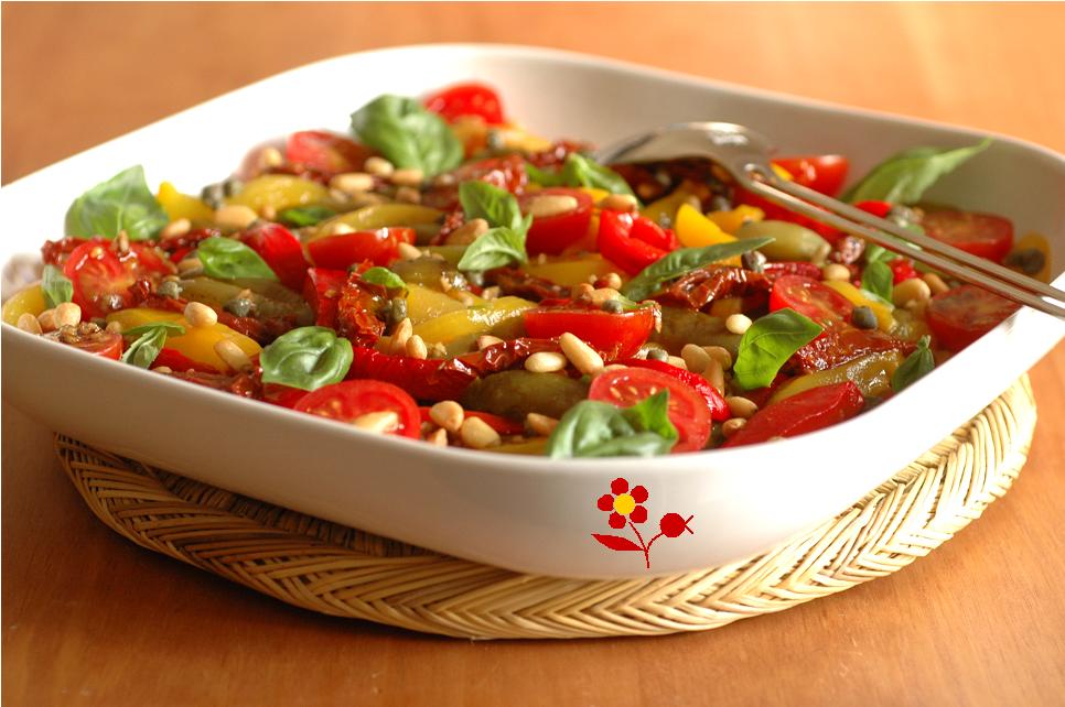 Salade de poivrons aux deux tomates son assaisonnement de choc passion gourmandise - Salade de poivron grille ...