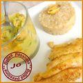 Soupe de moules aux poireaux/filets de soles/risotto aux poireaux
