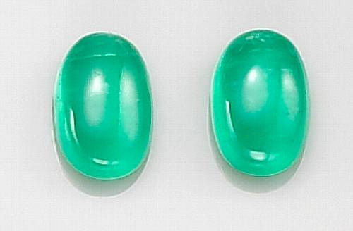 Pair of Cats Eye Emerald Cabochons (Muzo Mine, Columbia)
