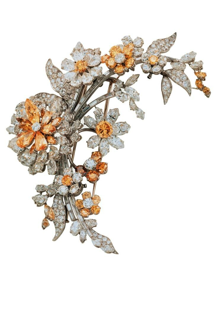 Bulgari. Tremblant platinum brooch with yellow and white diamonds (1962)