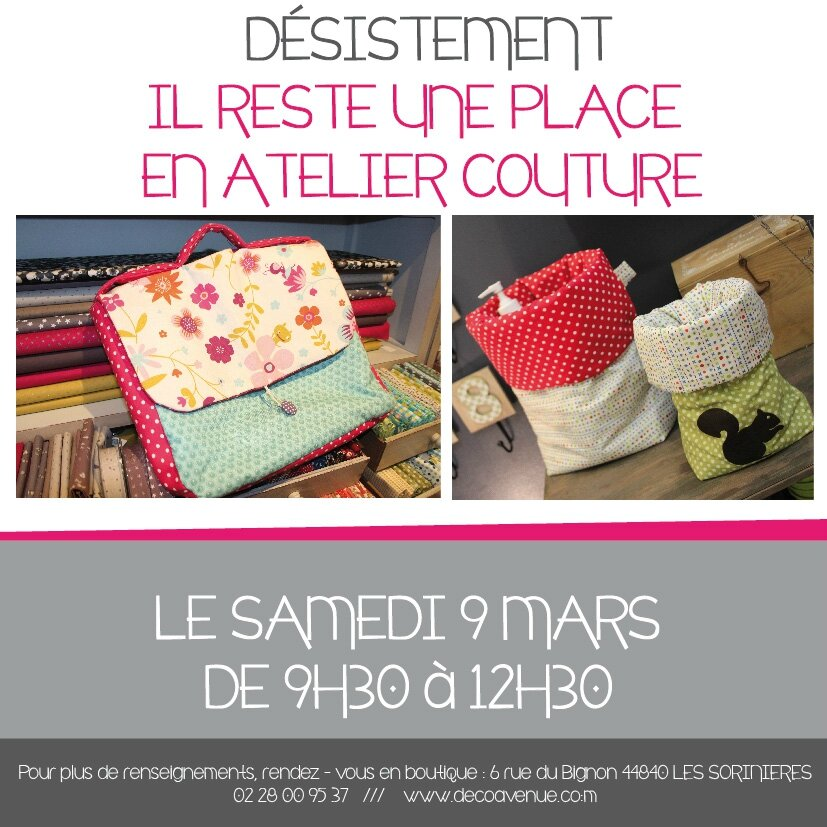 Il reste 1 place en atelier couture le 9 mars decoavenue for Atelier couture a nantes