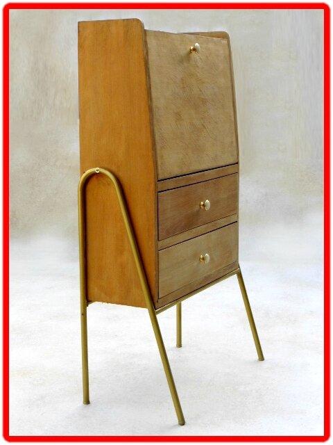 Secrétaire vintage rétro bois massif