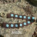 Bracelet diagonal chocolat et turquoise
