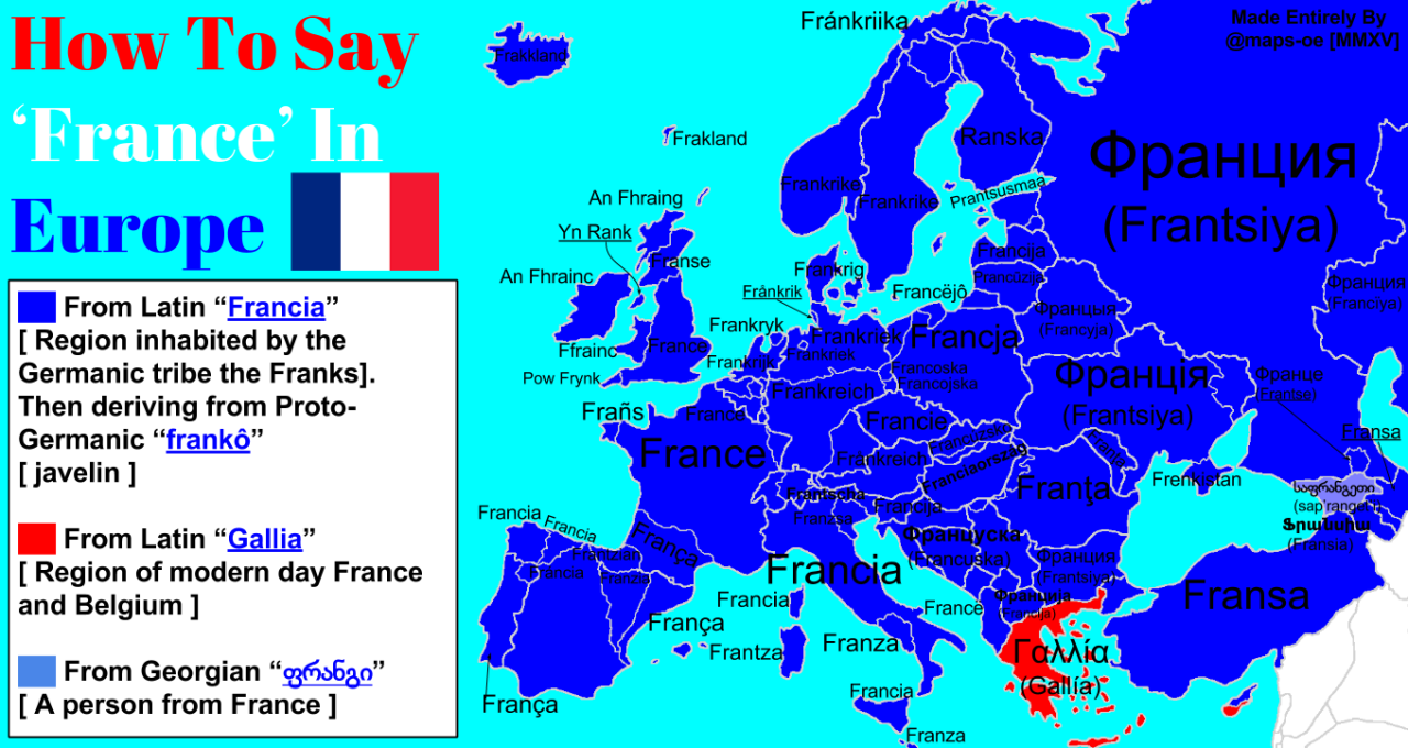 How to say 'France' in Europe with complete etymology