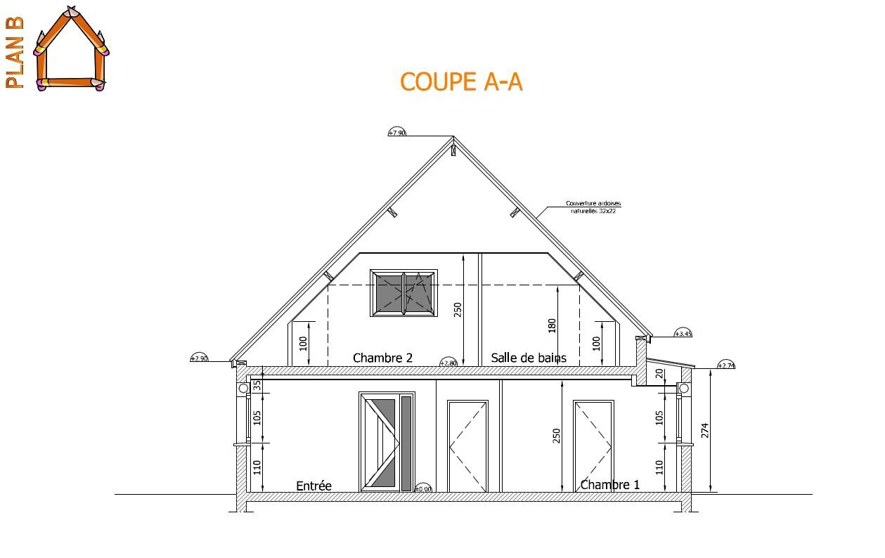 Construction d 39 une maison d 39 habitation rt 2012 le plan b for Plan coupe maison