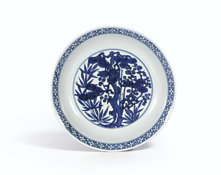 A blue and white 'Three friends of winter' dish, Mark and period of Wanli