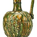 A Rare Green-Glazed Phoenix-Head Pottery Ewer, Tang dynasty (618-907)