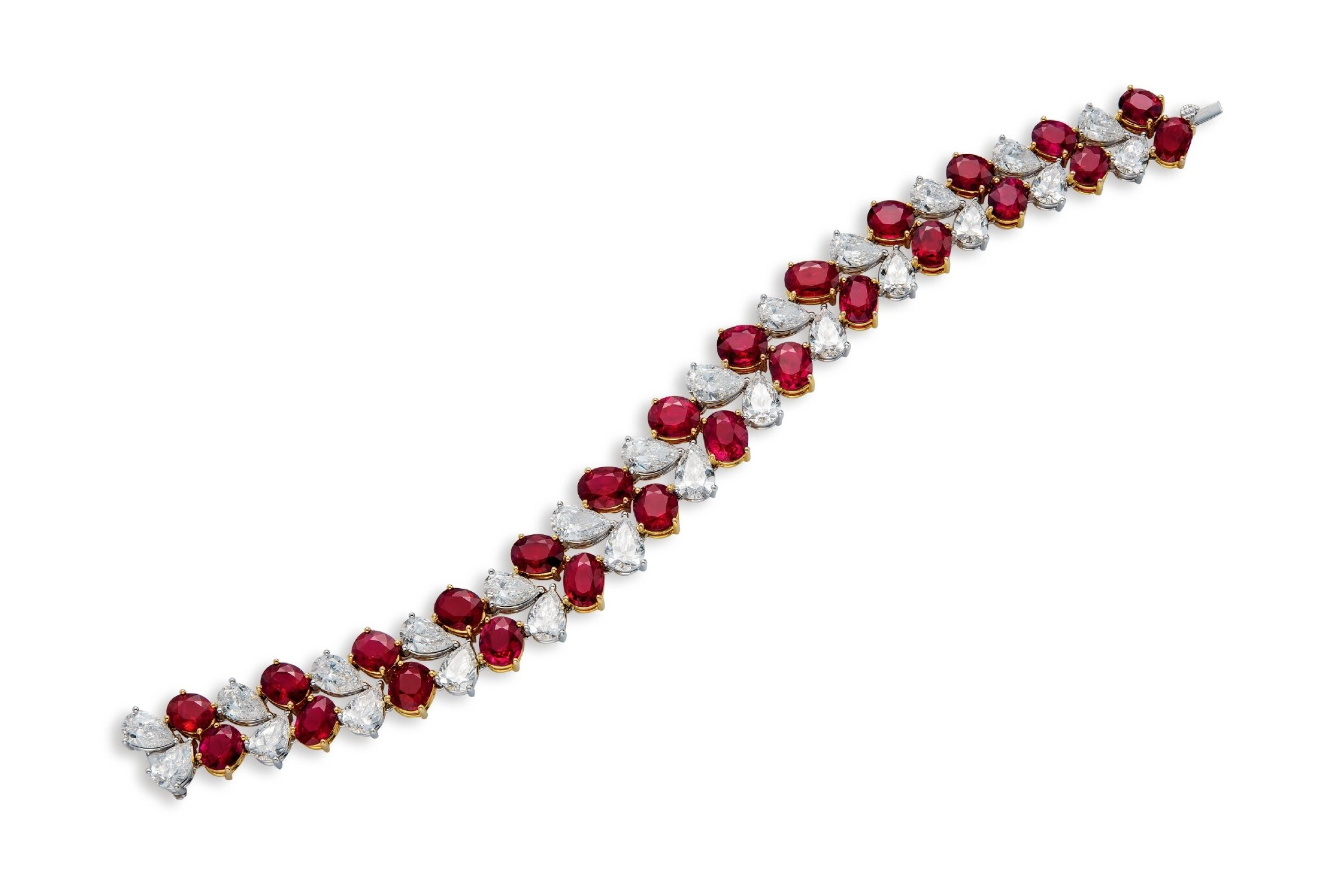 bracelet gold ruby and white diamond