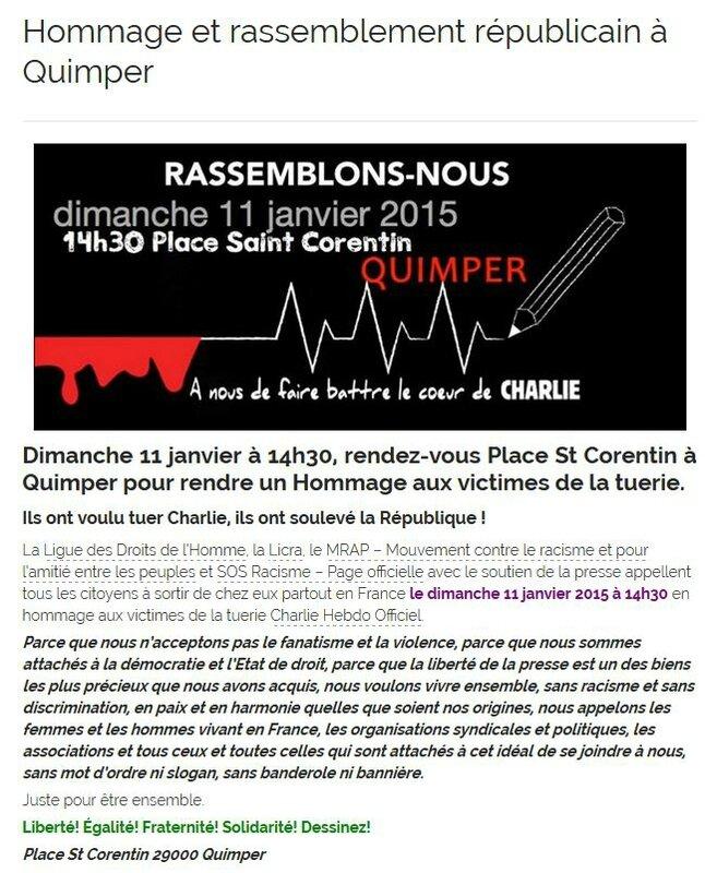hommage et rassemblement à Quimper dimanche 11 janvier a 14h30