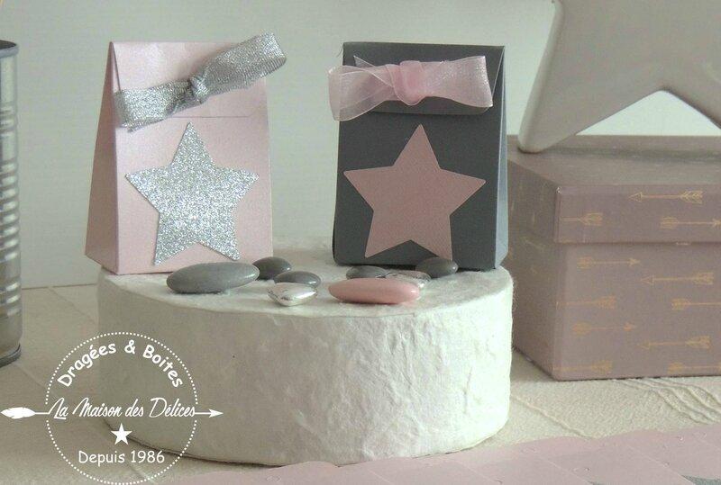 boite dragees bapteme contenant mariage rose poudre theme etoile gris argent2