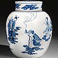 A blue and white 'eight immortals' jar and cover. yongzheng mark and period, signed xiaogang