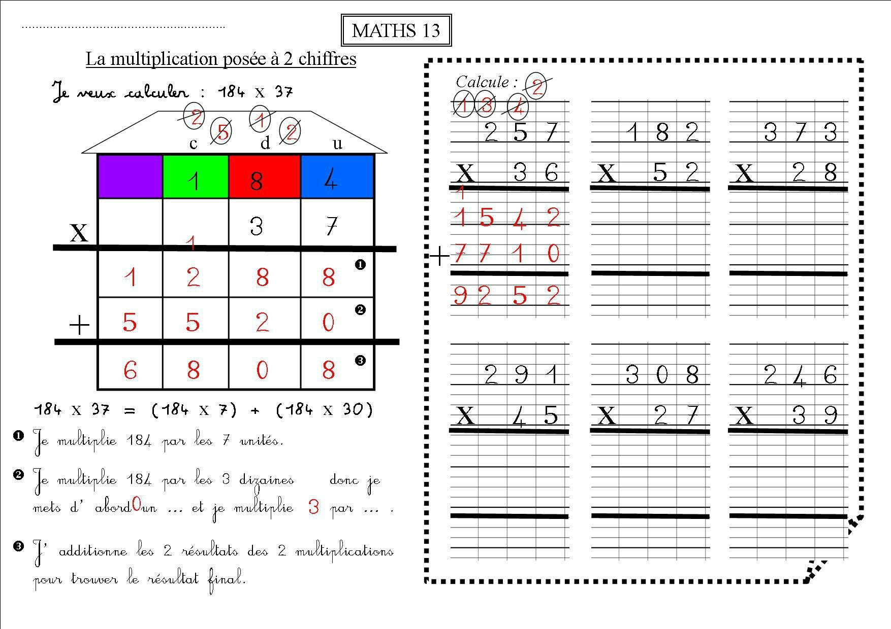 Maths 13 ce2 la multiplication pos e 2 chiffres la for Mathematique ce2 multiplication