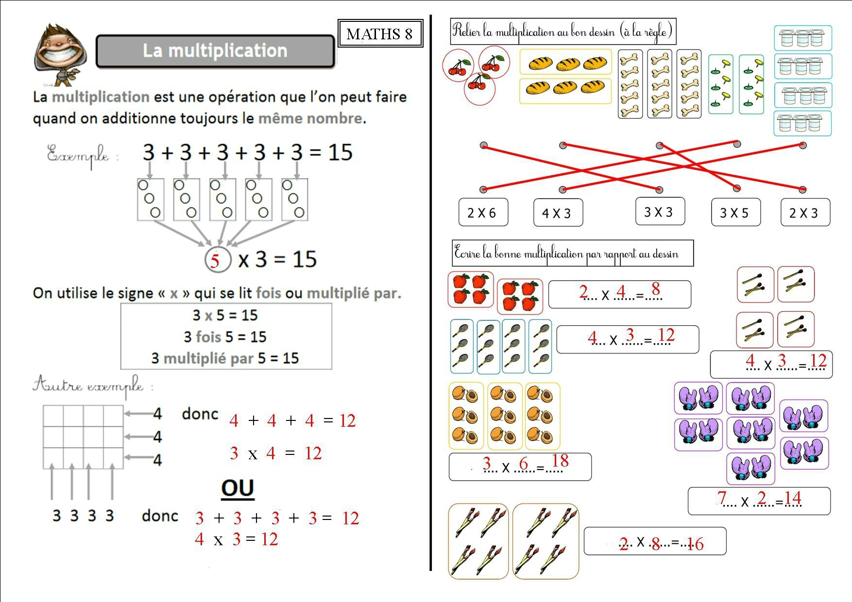 Multiplication le on multiplication pos e ateliers for Calcul multiplication ce2