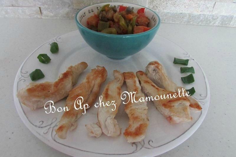 Brunoise de légumes du soleil et filet poulet plat diététique 017