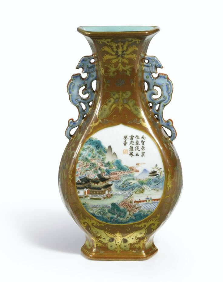A fine café-au-lait ground Famille-Rose wall vase, Seal mark and period of Qianlong