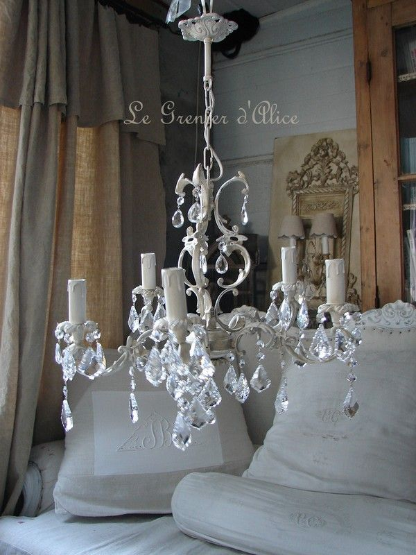 lustre 5 branches patine lin pampilles cristal decoration de charme shabby photo de lustres. Black Bedroom Furniture Sets. Home Design Ideas