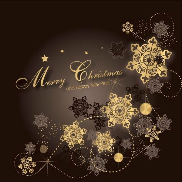 free_vector_gold_star_flake_pattern_merry_christmas_background_568642