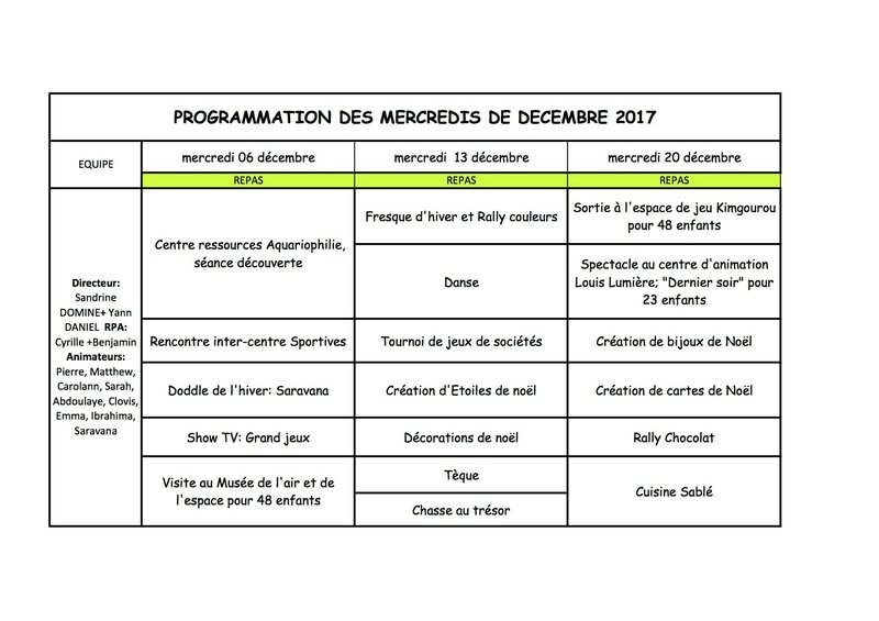 Planning CDL Sorbier dec 2017