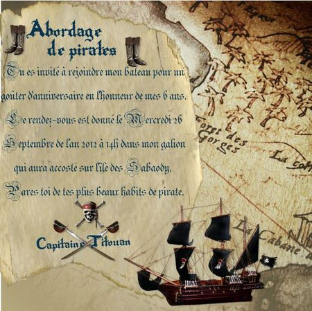 Anniversaire de pirates les tribulations de breizhfanfan - Invitation anniversaire garcon pirate ...