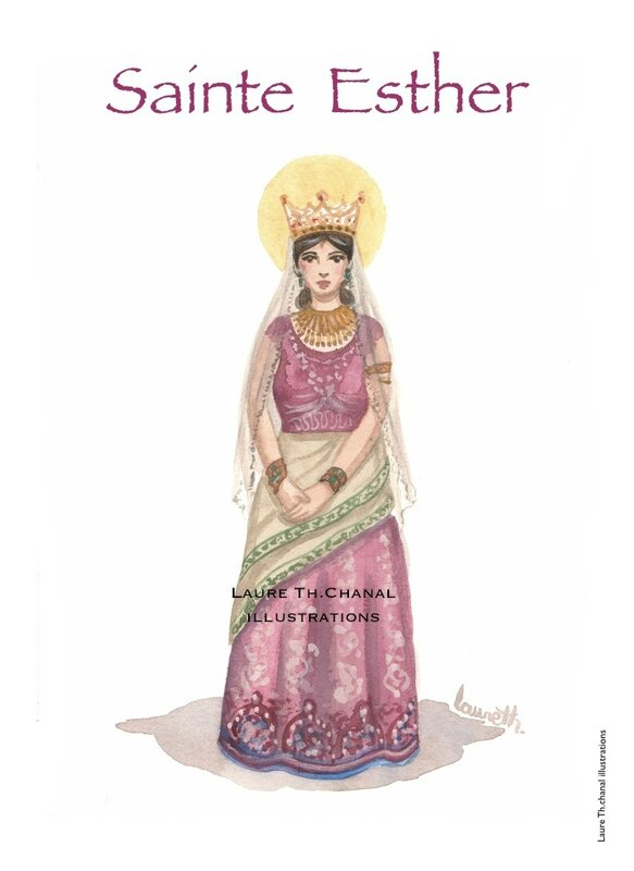 Aquarelle originale de sainte Esther, reine dans l'Ancien Testament