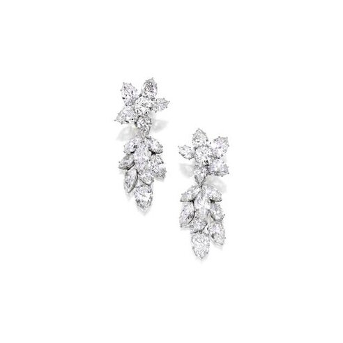 Pair of Platinum and Diamond Pendant-Earclips, The Tops by Harry Winston