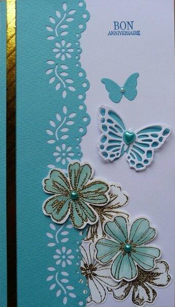 carte fleurs et papillons turquoise