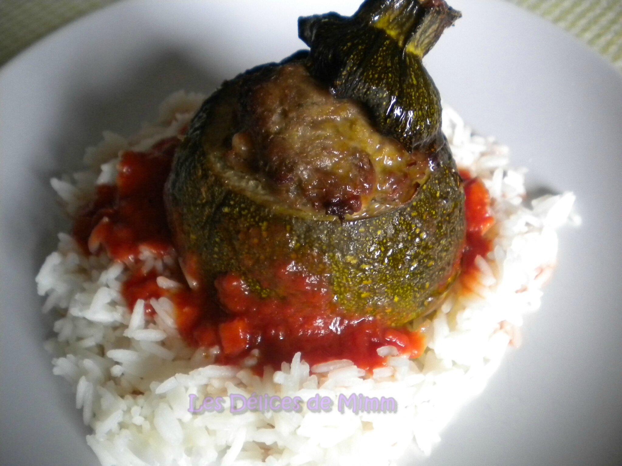 Courgettes rondes farcies la grecque viande feta les d lices de mimm - Cuisiner des courgettes rondes ...