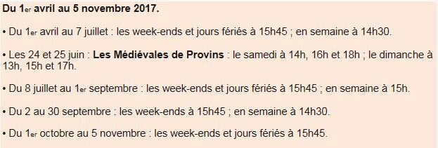Horaires légende chevaliers