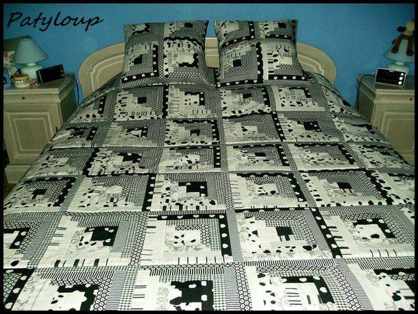 Patchwoork black et white chez patyloup - Patchwork modele gratuit dessus de lit ...