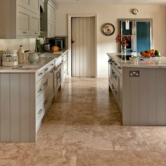 Travertine-flooring-in-kitchen-with-grey-green-units--Country-Homes-and-Interiors--Housetohome