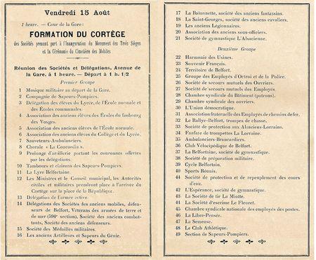Belfort Inauguration Monument 3 Sièges 15 août 1913 Cortège